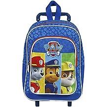 Perletti - Trolley de niño Paw Patrol: La Patrulla Canina - Mochila trolley con ruedas y correas con estampado de Marshall, Rubble y Chase - 31 x 23,5 x 13 cm