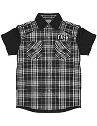 original Johnny Cash Herren Worker T-Shirt HEMD CASH BLUES schwarz/weiß GR. M-XXL