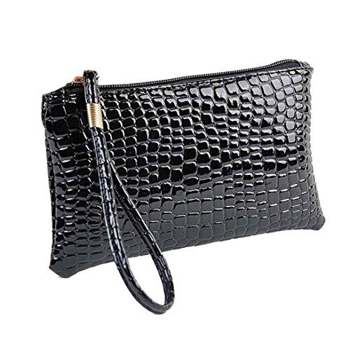 Damen PU Leder Handgelenktasche Herrenhandtasche in 6 Farben Frauentasche Geldbörse Krokodil Clutch Handtasche LANSKIRT (Schwarz)