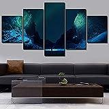 mmwin Toile HD Prints Décoratif À La Maison Ciel Étoilé 5 Pièces Paysage Mur Art...
