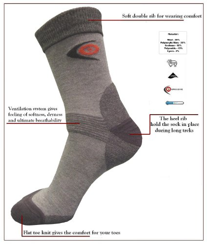 eXPANSIVE TREKKING LIGHT SOCKS 096/10/02 CoolMax Merino Wool GREY UK 2.5-5 EUR 35-38 by eXPANSIVE