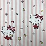 Lizenzprodukt Hello Kitty KITTA Streifen pink NEUHEIT Premium Grade 100% Baumwolle feines Gewebe Kinder Vorhang Betten Stoff 140cm breit, Meterware,