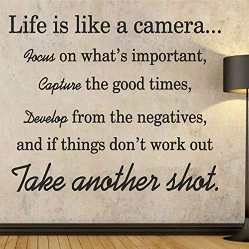 Vinyl Wandkunst Zitat Aufkleber Das Leben ist wie eine Kamera Nehmen Sie einen anderen Schuss nach Hause Wohnzimmer Schlafzimmer Dekoration Decals (Wie Viel Ist Ein Schuss Glas)