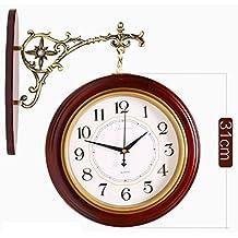 EDSH reloj de pared Europea-doble cara reloj de pared de madera sólida sala de estar moderna y sencilla No Tick-tock Moda Dormitorio de pared redonda de reloj ( Color : D )