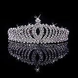 JZK® nupcial boda princesa paseo corona de cristal diamante de imitación para niños Y adultos, aleación de aluminio metal plateado diadema tiara
