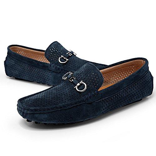 Men Loafer en cuir avec Moccasin Gommino Slip sur chaussures de marche pour conduire Casual Sneaker Bleu