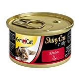GimCat ShinyCat in Jelly Hühnchen, Nassfutter mit Geflügel für Katzen, Katzenfutter mit Taurin in köstlichem Gelee, Ohne Zuckerzusatz und glutenfrei, 24 Dosen (24 x 70 g)