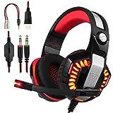 BlueFire Cascos Gaming con Micrófono, Auriculares PS4 Reducción de Sonido y Control de Volumen Gaming Headset con Conector Jack 3.5mm y Luces led para Xbox One, PS4 (Rojo)