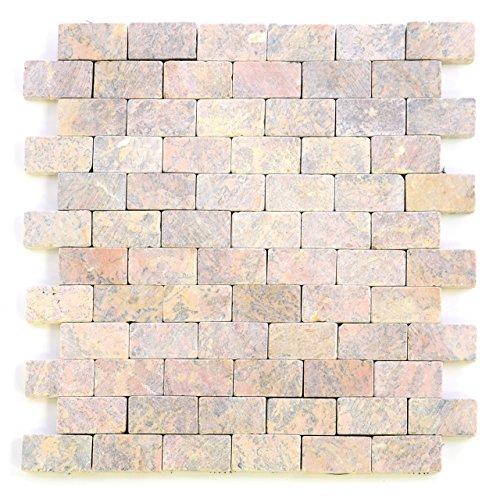 Getrommelt Marmor Mosaik 1x1 (DIVERO Marmor 11 Matten 33 x 33cm Naturstein-Mosaik Fliesen für Wand Boden rot)