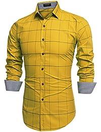 9b54155c184 Coofandy Men s Fashion Long Sleeve Plaid Button Down Casual Shirts