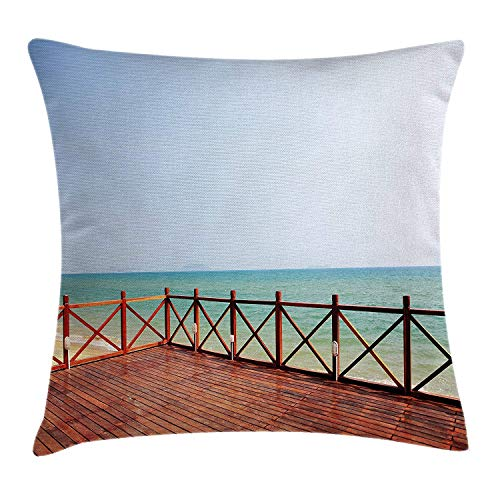 VTXWL Coastal Decor Throw Pillow Cushion Cover, Tropical Holiday Theme Balcony at The Sandy Sea Shore Beach, Decorative Square Accent Pillow Case, 18 X 18 inches, Brown White and Light Blue