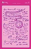 Amelie Prager amp03049Stencil Fonds Manuskript mit Uhr, 20x 30cm