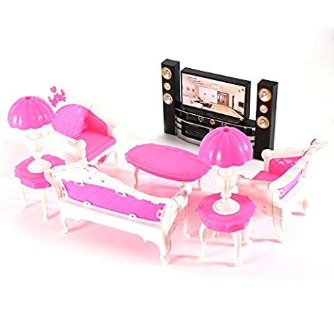 7Pcs Deluxe Barbie Dolls Living Room Furniture Sofe+Chair+Table+Lamps+TV Cabinet Entertainment Set