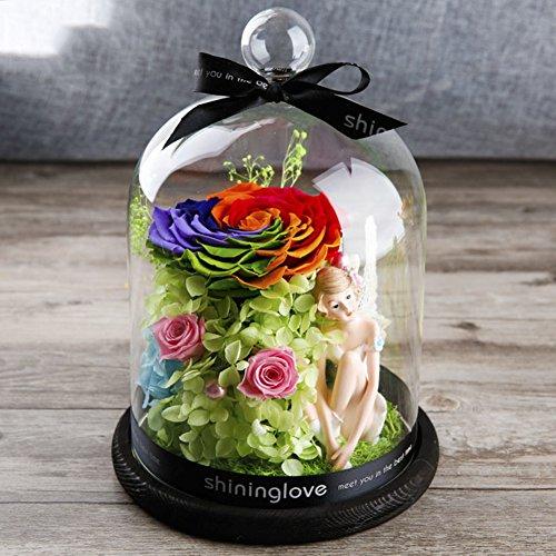 Boîte de cadeau fleur éternelle,Verre Roses bleues Anniversaire Valentin Fleurs artificielles Décorations de mariage-B