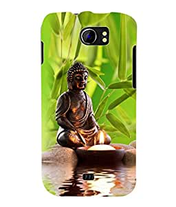 Fuson 3D Printed Lord Buddha Designer Back Case Cover for Micromax Canvas 2 A110 / A110Q - D564