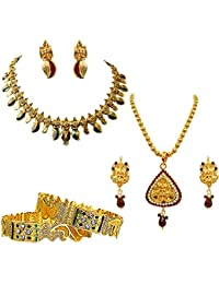Surat Diamonds Ethnic Indian Motif Coloured Stone, Enamelling & Gold Plated Pendant Necklace Earring Set & Bangles...