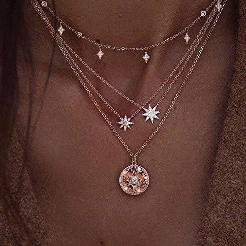 Jovono Bohemian - Mehrschichtige Halskette mit Stern und Strass für Frauen und Mädchen