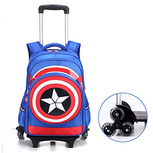 Hl-bag Zaino Trolley, Schulrucksack Teen Girl leichte Nylon Rucksack Tasche Set (Color : 3 Rounds, Size : Blue) -