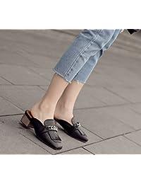 Qingchunhuangtang@ Signora pantofole ciabatte sandali con spessi Square a Baotou,Thirty-Seven,Nero