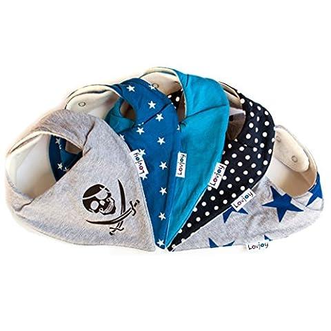 Lovjoy Bandana Geifer Baby Lässig Lätzchen - 5er Pack (SIMPLY BLUE) - Multicolor Super Absorbent & Soft für ultimativen Komfort mit Druckknöpfen – abwaschbar - Wasserdicht vlies Auskleidung für 0-3 Jahre - Netter Baby-Geschenk für Jungen und Mädchen