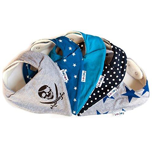 Lovjoy Bandana Geifer Baby Lässig Lätzchen - 5er Pack (SIMPLY BLUE) - Multicolor Super Absorbent & Soft für ultimativen Komfort mit Druckknöpfen – abwaschbar - Wasserdicht vlies Auskleidung für 0-3 - Baby Bandana-lätzchen Für
