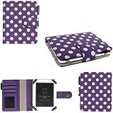 Aquarius Étui en cuir Premium pour liseuse Kobo Mini 5'' avec porte-cartes Noir à pois violet