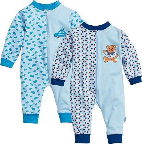 Geprüft Schlafanzug (Playshoes Baby-Jungen Schlafoverall Single-Jersey Auto & Bär 2er Pack Schlafstrampler, Blau (Sortiert 999), (Herstellergröße: 56))