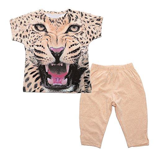 Kinderkleidung Shirt + Hosen, Sunday Kleinkind Baby Jungen Mädchen Leopard Druck T-Shirt übersteigt Hosen Ausstattungs Kinderkleidung Eingestellt (Mehrfarbig, Alter: 3J)