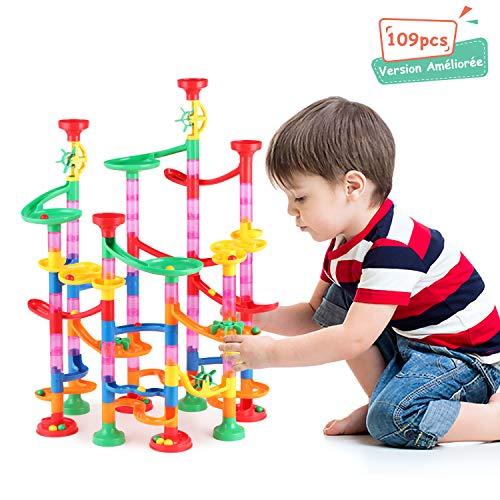 YISSVIC Circuits de Billes, 109 Pcs Labyrinthe Billes Toboggan à Billes pour Enfant Jeu de Construction avec Billes pour Enfant 3 Ans+