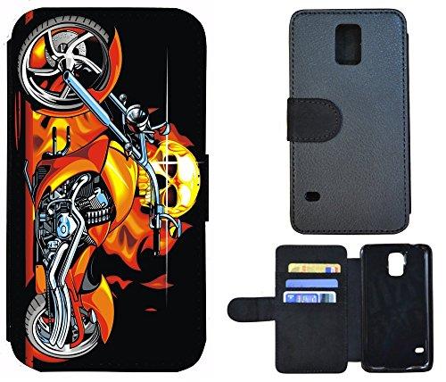 Schutz Hülle Flip Cover Handy Tasche Etui Case für (Apple iPhone 4 / 4s, 1019 Pferd Hengst auf Wiese Weiß) 1018 Totenkopf Skull Motorrad Feuer