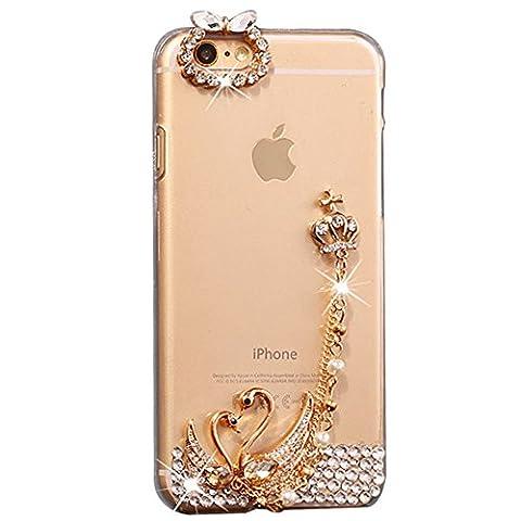 iPhone 8 Plus Hülle, STENES 3D Handgefertigt Diamant Schutz Handy Tasche Kristall Hülle für iPhone 7 Plus / iPhone 8 Plus mit Retro Anti Staub Stecker - Krone Anhänger Schwan Liebhaber / Klar