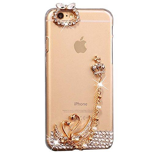 iPhone 8 Plus Hülle, STENES 3D Handgefertigt Diamant Schutz Handy Tasche Kristall Hülle für iPhone 7 Plus / iPhone 8 Plus mit Retro Anti Staub Stecker - Krone Anhänger Schwan Liebhaber / Klar (Kopfhörer Zubehör Krone Jack)