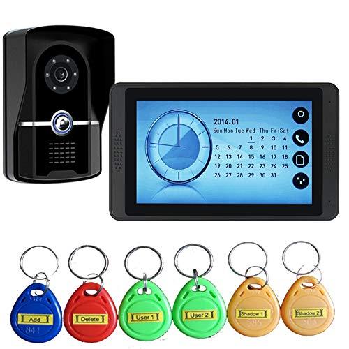 QLPP Drahtloses Video-Doorbell Telefon, 7-Zoll-Intercom-Monitor Doorphone System, Home Security Kit mit ID-Karten Monitoring, Night Vision, Fotos und Videos Aufnahme,1camera1monitor Monitor Security Kit