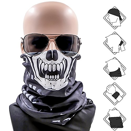 Rabbitgoo Maske Multifunktionstuch Motorrad Gesichtsmaske Totenkopf Sturmmaske Schädel für Outdoor Fahrrad Ski Wandern Party (Schädel Schal Gedruckt)
