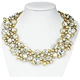 Bestime Womens Garland Floral Hoop Colorful Rhinestone Fashion Necklace