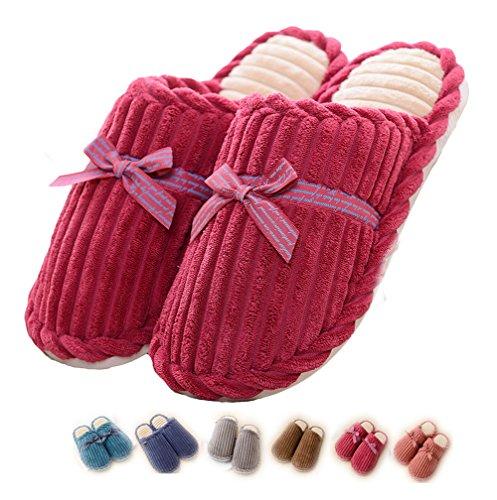 Pantofole donna inverno ciabatte casa eleganti peluche scarpe estive cotone tessuto (37.5/38 eu=37/38 cn, rosso)
