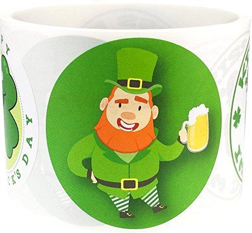 St. Patricks Day Aufkleber Leprechaun Clover Etiketten 6,3cm rund Kreis Punkten 100selbstklebende Aufkleber