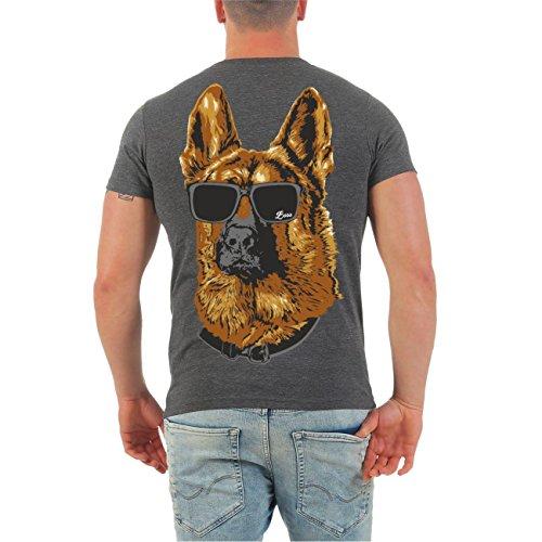 Männer und Herren T-Shirt Schäferhund - Deutsches Kulturgut (mit Rückendruck) Größe S - 8XL V-Neck grau meliert