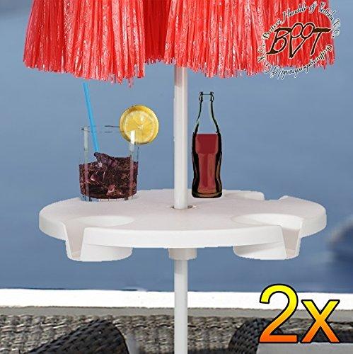 2 Stück XL Sonnenschirm-Tisch, Schirmtisch Getränkehalter für alle Sonnenschirme mit Mastdurchmesser 12 mm - 42 mm, komplett mit robuster Schirmhülse, Sonnenschirmständer für Strand Sand, Bodendübel Bodenhülse Schirmhalter Schirmdübel, Schirmständer, Zubehör für Sonnenschirme