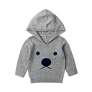 Bellelove☺Kleinkind Baby Jungen Kapuzenpullover Warm Gestricktes Sweatshirt zur Seite Fahren Süße Bärenform Dicke Kleidung