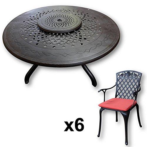 Lazy Susan - AMELIA 150 cm Runder Gartentisch mit 6 Stühlen - Gartenmöbel Set aus Metall, Antik Bronze (ROSE Stühle, Terracotta Kissen) (Wasser-kissen Für Grillen)