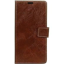 BQ Aquarius E5 Funda, Lifetrut [Flip Wallet fondos] PU de lujo de cuero magnético cartera de la cartera de protección para el BQ Aquarius E5 [marrón]