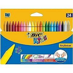 Idea Regalo - Bic Kids Plastidecor Pastelli Colorati Confezione da 24 Pastelli Colori Assortiti