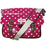 City Girl Polka Dot, Flower (Floral) Satchel/ Ladies Girls Spot Print Large Shoulder Bag / School (University) Cross Body Bag (Polka Dot Pink)