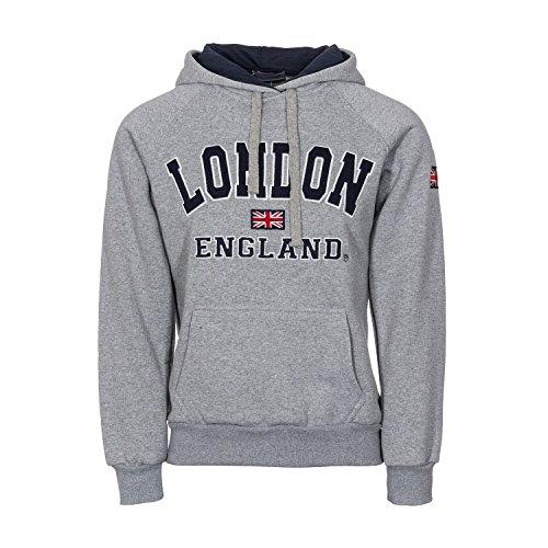 Damen England Hoodys Hoodies Sweatshirts Damen London Union Jack Tops Hoodies Super Quality (M 12, Grau/Navy)