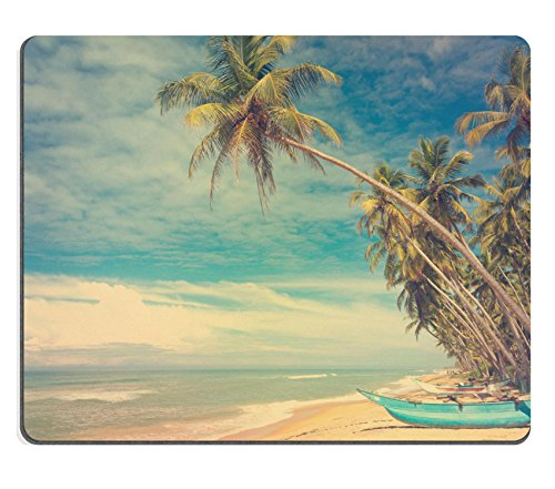 MSD Mousepad Image ID 27237734 Wooden boats under palm trees on tropical beach vintage stylized