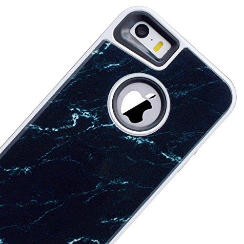 Yokata 2 in 1 iPhone SE / iPhone 5 / iPhone 5s Hülle Weich Silikon Handyhülle Innere mit Hart PC Plastik Marmor 3D Schutz Backcover Armor Schutzhülle Schale Etui Ultra Dünn Slim 2 Layer Case Silicone  Schwarz