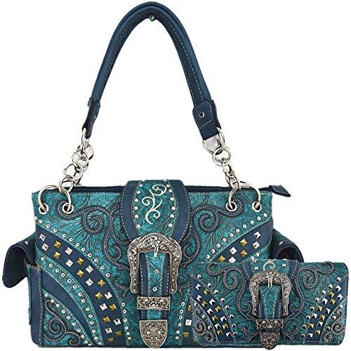 Western-Stil Werkzeug-Leder-Schnalle, versteckte Tragetasche, Landhaus-Handtasche, Schultertasche, Geldbörsen-Set, (#3 Turquoise Set), Large