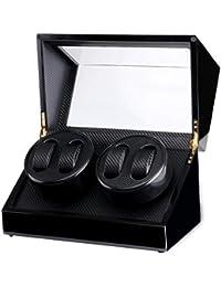Cajas Giratorias Para Relojes Automaticos Watch Winders 4 Posiciones, Black+carbon fiber(4+0)