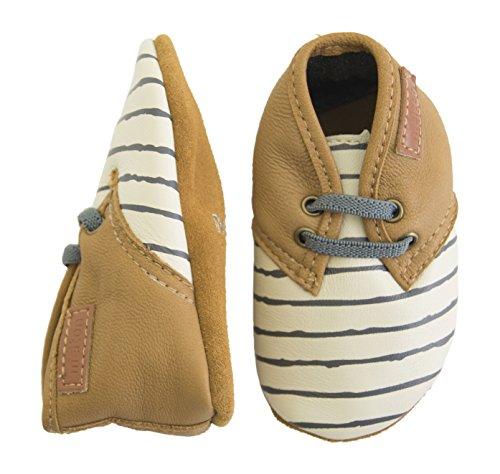 Melton Krabbelschuh Sneaker Aus Weichem Leder, Chaussons pour enfant bébé garçon Mehrfarbig (Cafe au lait)
